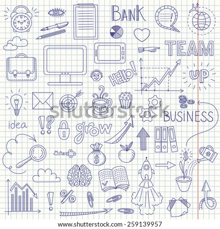 Business doodle background with graph, arrows, cloud, text and other design elements on white
