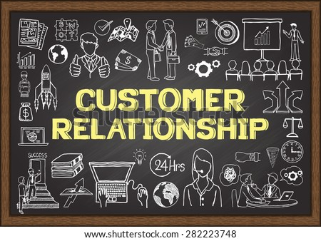 Business doodles about customer relationship on chalkboard. - stock vector