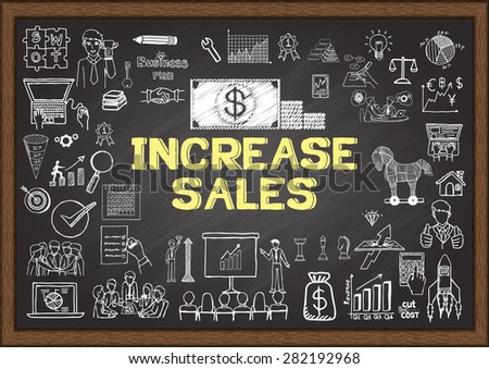 Business doodles about increase sales on chalkboard. - stock vector