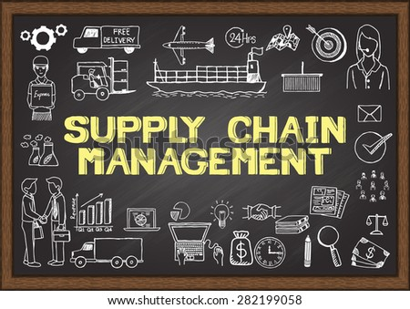 Business doodles about supply chain management. - stock vector