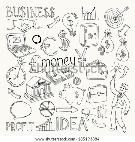 Business doodles, hand doodle vector illustration on white - stock vector