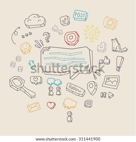 Business doodles on a blackboard. Concept of social network activity. Vector illustration