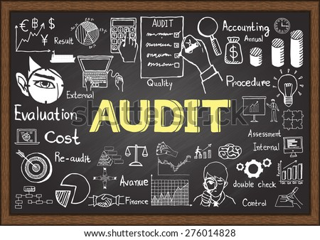Business doodles on chalkboard with audit concept. - stock vector