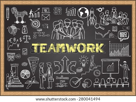 Business doodles on chalkboard with the concept of teamwork. - stock vector
