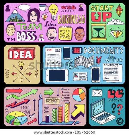 Business doodles set. Banners. Vector illustration. - stock vector