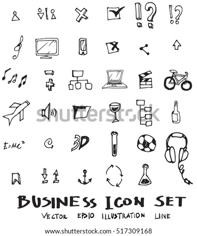 Business doodles sketch vector ink.