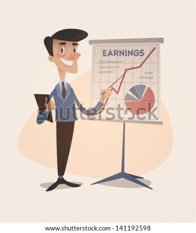 Business earnings graphic grown up. Retro style vector illustration - stock vector