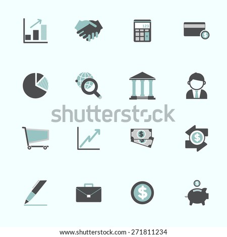 Business Economic FInancial Saving Growth Icon Set Concept