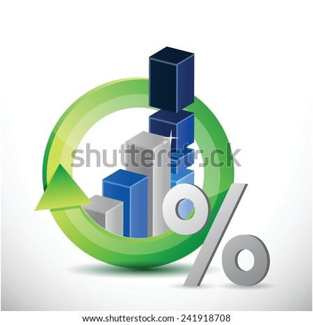 business economy moving. percentage symbol illustration design over a white background - stock vector