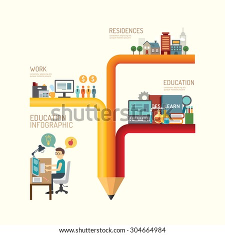 Business education concept infographic pencil step to successful icons flat design,vector illustration - stock vector
