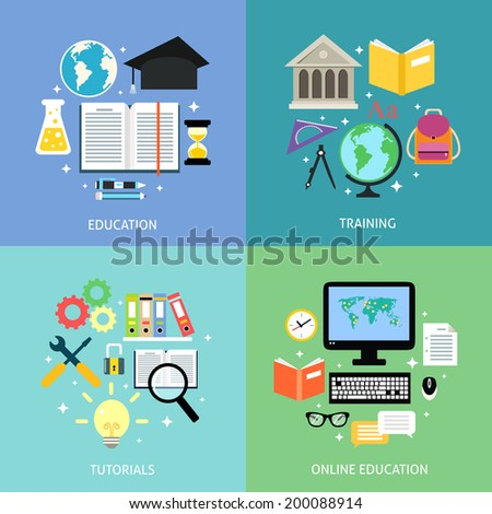 Business education concept training tutorial reading discussion online flat icons set isolated vector illustration - stock vector