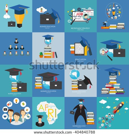 Business Education Flat Concept Set. Trends and Innovation in Education. Vector Illustration EPS10