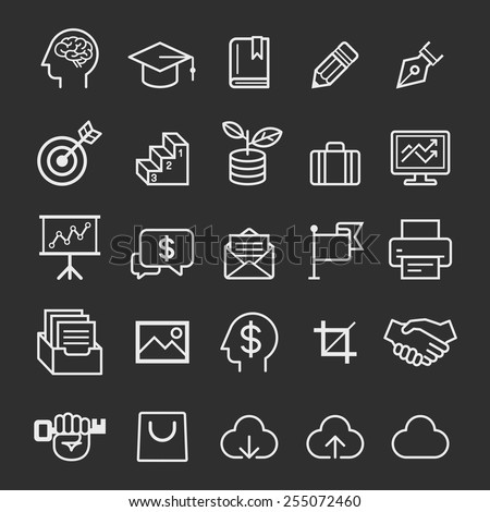 Business education icons. Vector illustration - stock vector