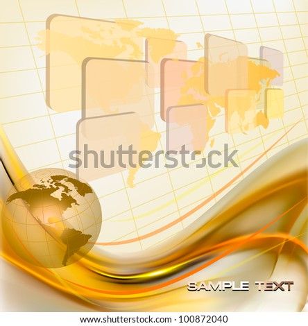 Business elegant abstract background with globe. Vector illustration - stock vector