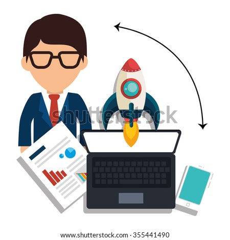 Business entrepreneur and start up company graphic design, vector illustration - stock vector