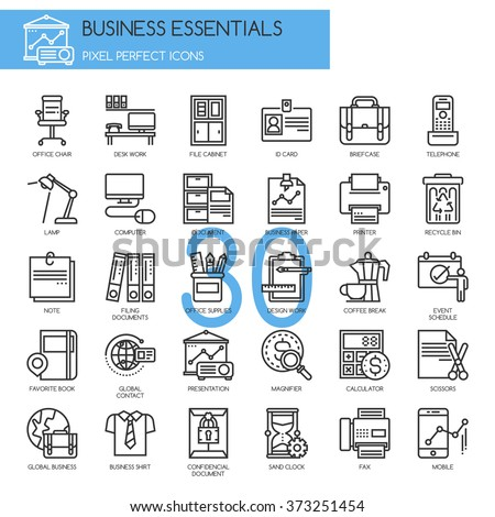 Business Essentials, thin line icons set - stock vector