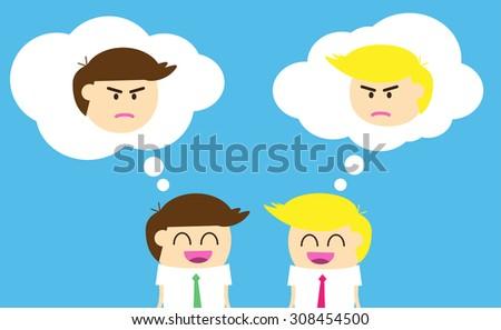 Business etiquette forbids show negative emotions. Insincere partnership, Businessman, illustration vector design. smile, crafty - stock vector