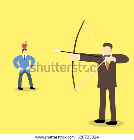 Business executive holding bow and arrow aiming to shoot at apple on another man's head - stock vector