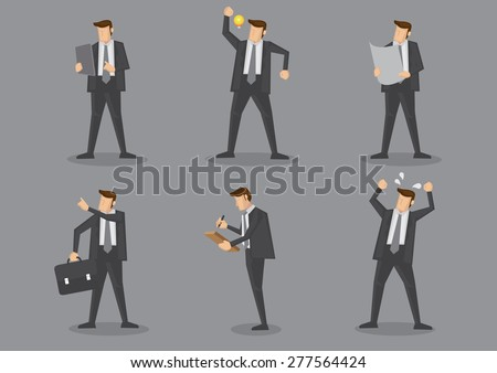 Business executives in black suit standing in different gestures. Vector cartoon characters illustration isolated on grey background. - stock vector