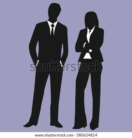 Business Executives Standing - Illustration - stock vector