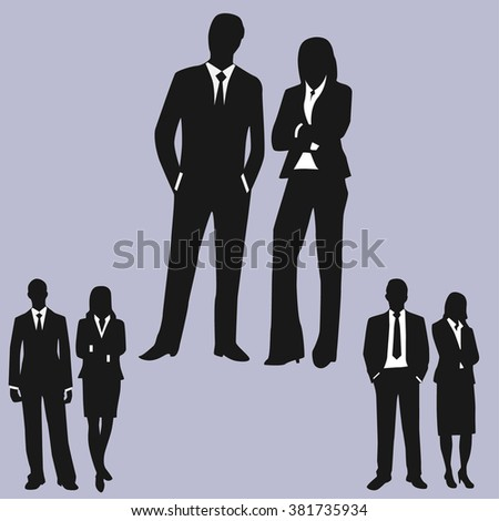 Business Executives Standing - Illustration