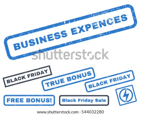 Business Expences rubber seal stamp watermark with bonus design elements for Black Friday sales. Vector smooth blue emblems. Tag inside rectangular banner with grunge design and scratched texture.