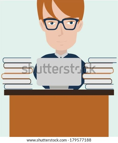 Business expert working on laptop - stock vector