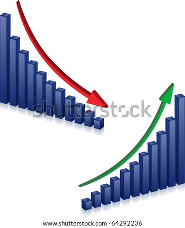 Business failure and growth graph and arrows - stock vector