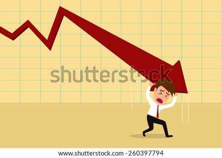 Business failure.Down trend graph and  try to rebound , Vector Illustration - stock vector