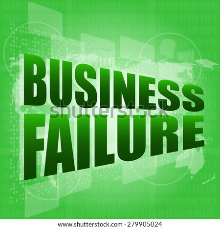 business failure on digital touch screen vector - stock vector