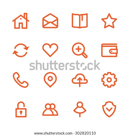 Business Fat Line Icon set for web and mobile. Modern minimalistic flat design elements - stock vector