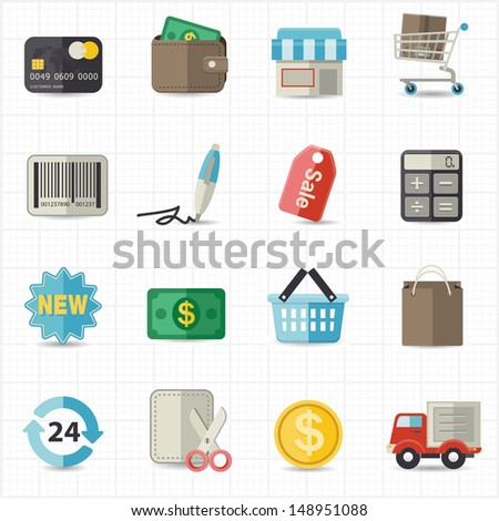 Business finance and shopping icons - stock vector