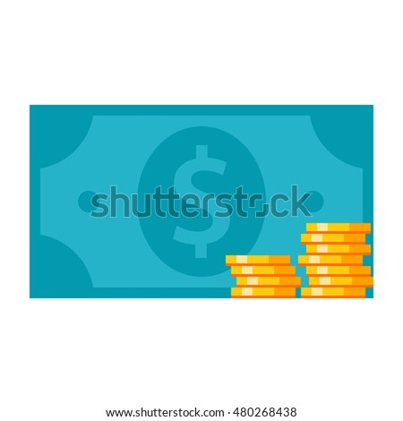 Business finance concept with coins and banknote.