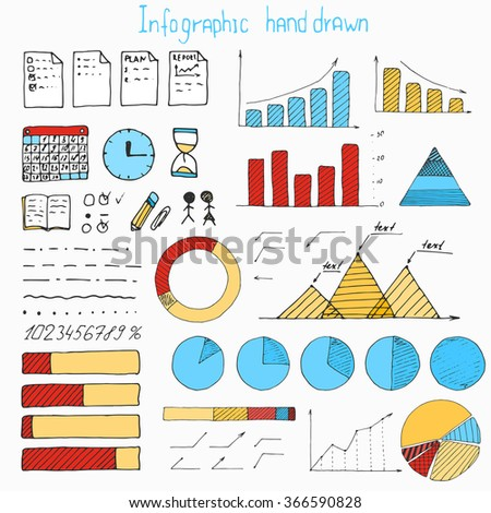 Business finance doodle hand drawn elements. Concept - graph, chart, pie, arrows signs - stock vector
