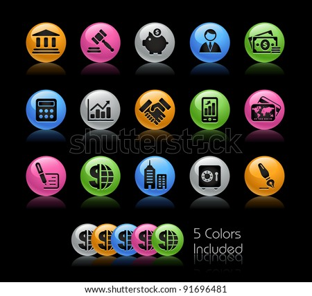 Business & Finance Icon Set  / The file Includes 5 color versions in different layers. - stock vector
