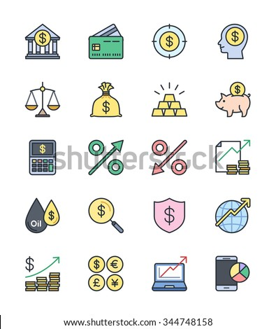 Business Finance icons, Color set - Vector Illustration