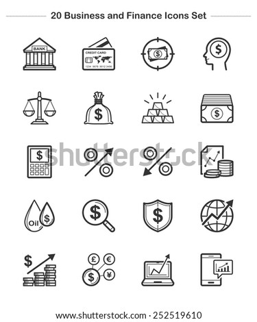 Business Finance Icons set, Line icon - Vector illustration - stock vector