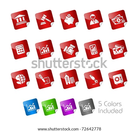 Business & Finance Icons// Stickers Series -------It includes 5 color versions for each icon in different layers --------- - stock vector