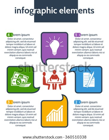 Business, finance. Idea concept layout for teamwork and brainstorming in form of speech bubbles. Infographic template with integrated icons for development, investment, solutions, teamwork & contract. - stock vector