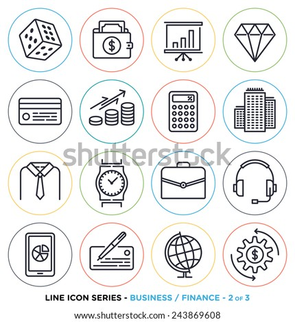 Business & finance line icons set. Vector collection of investment symbols & accounting equipments. - stock vector