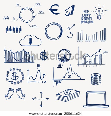 Business finance management infographics social media doodle hand draw elements. Concept - graph, chart, pie, arrows, signs earning money - stock vector