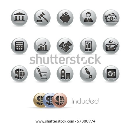 Business & Finance // Metal Round Series --- It includes 4 color versions for each icon in different layers.--- - stock vector