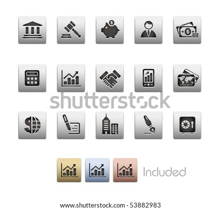 Business & Finance // Metallic Series - It includes 4 color versions for each icon in a different layer. - stock vector