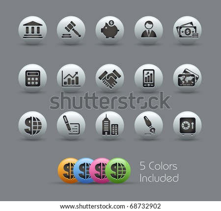 Business & Finance // Pearly Series -------It includes 5 color versions for each icon in different layers --------- - stock vector