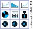 business, finance, stock icon set, vector - stock vector