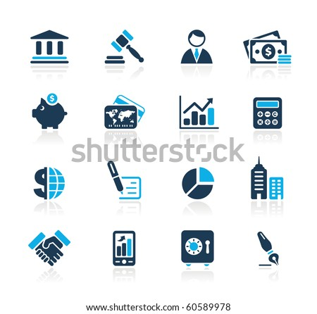 Business & Finance Web Icons // Azure Series - stock vector