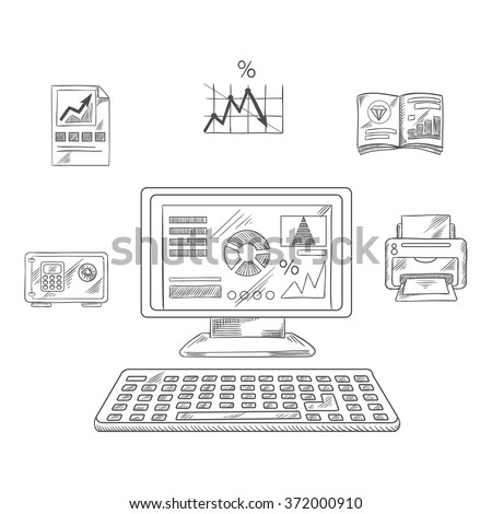Business, financial and office printer, laptop computer, report and chart, graph, folder and safe box. Vector sketch - stock vector