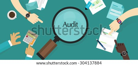 business financial audit auditing tax process  - stock vector