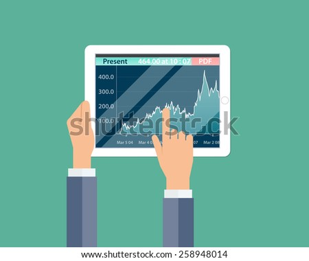 business financial investment  and money graph report on device background - stock vector