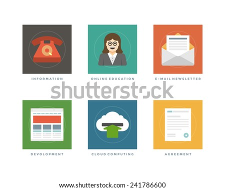 Business flat design icons, Telephone Customer Support, Online Education, E-mail Newsletter, Web Development, Cloud Computing, Agreement. Vector illustration for website and promotion banners. - stock vector